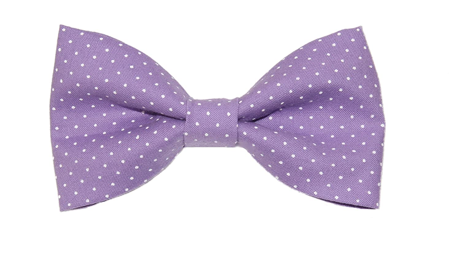 Mens Purple With White Pin Dots Pre-Tied Cotton Bow Tie On Adjustable Twill Strap