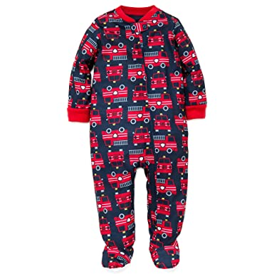 97d2a606e8da Amazon.com  Little Me Baby Boys Light-Weight Soft Zip Footie Pajamas ...