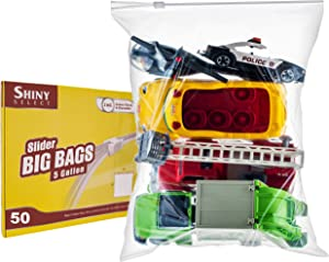 [PACK of 50 ] Extra Large BIG Food & Organization Storage Bags with Easy Open Close SLIDER closure ,5 Gallon 18