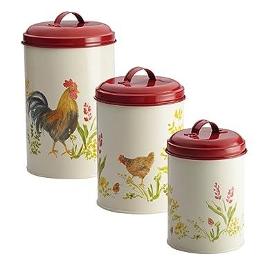 Paula Deen Pantryware Food Storage Canister Set, 3-Piece, Garden Rooster