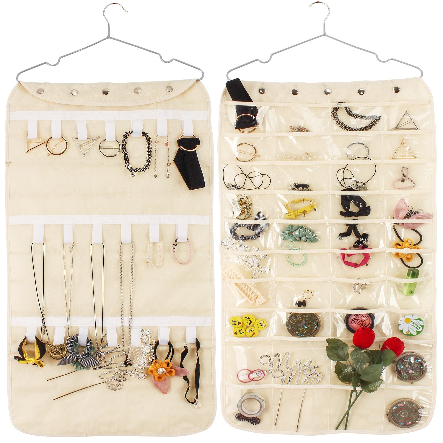 40 Pockets & 20 Hook-and-Loop Tabs Hanging Jewelry Organizer Dual Sided Household Accessory Holder Storage Bag Closet Storage for Earrings Necklace Bracelet Ring with Hanger(Beige) by Colleer
