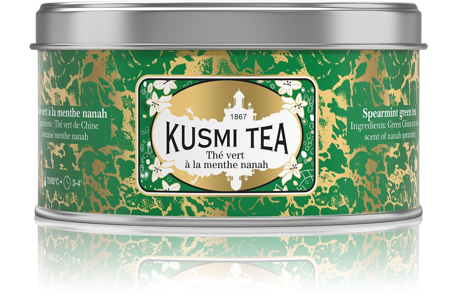 Kusmi Tea - Spearmint Green Tea - Refreshing Green Tea with Spearmint Leaves & Mint Essential Oils - 4.4oz Natural, Premium Loose Leaf Spearmint Green Tea in Eco-Friendly Tin (50 Servings)
