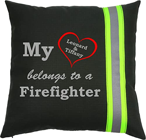 Personalized Firefighter Couple Throw Pillow My Heart Belongs to a Firefighter Black