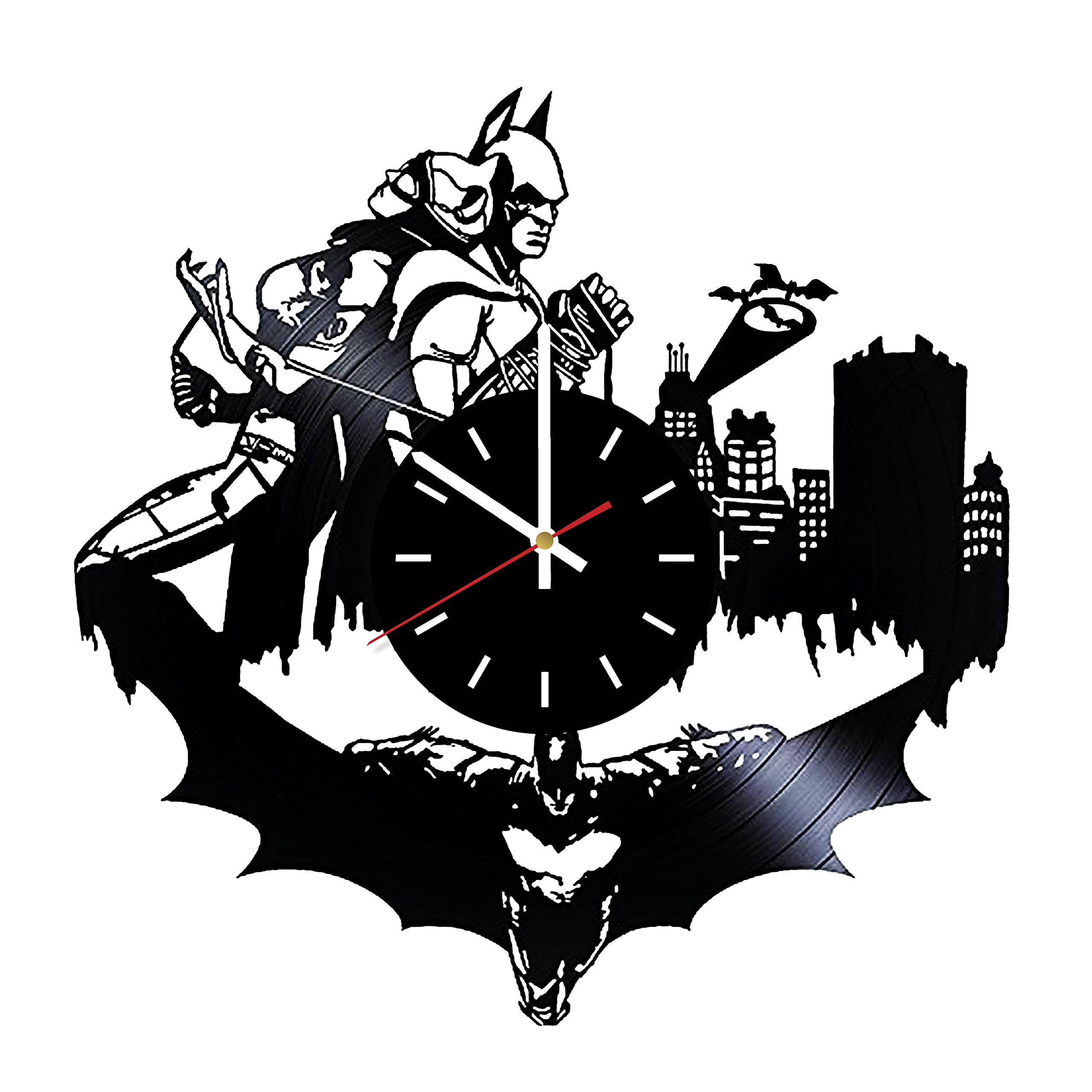Everyday Arts Batman and Catwoman Superhero Design Vinyl Record Wall Clock - Get Unique Bedroom or Garage Wall Decor - Gift Ideas for Friends, Brother - Darth Vader Unique Modern Art