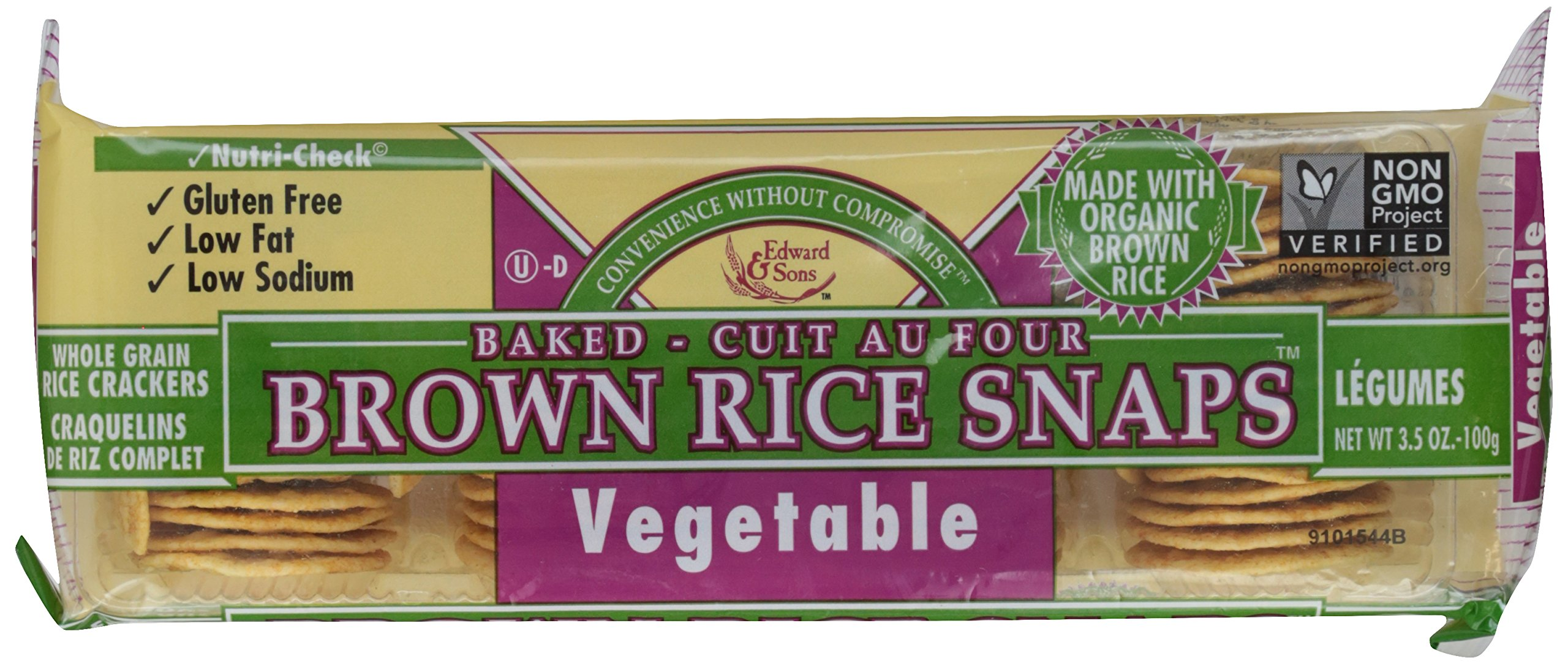 Edward & Sons, Organic Brown Rice Snaps Crackers, Vegetable, 3.5 oz