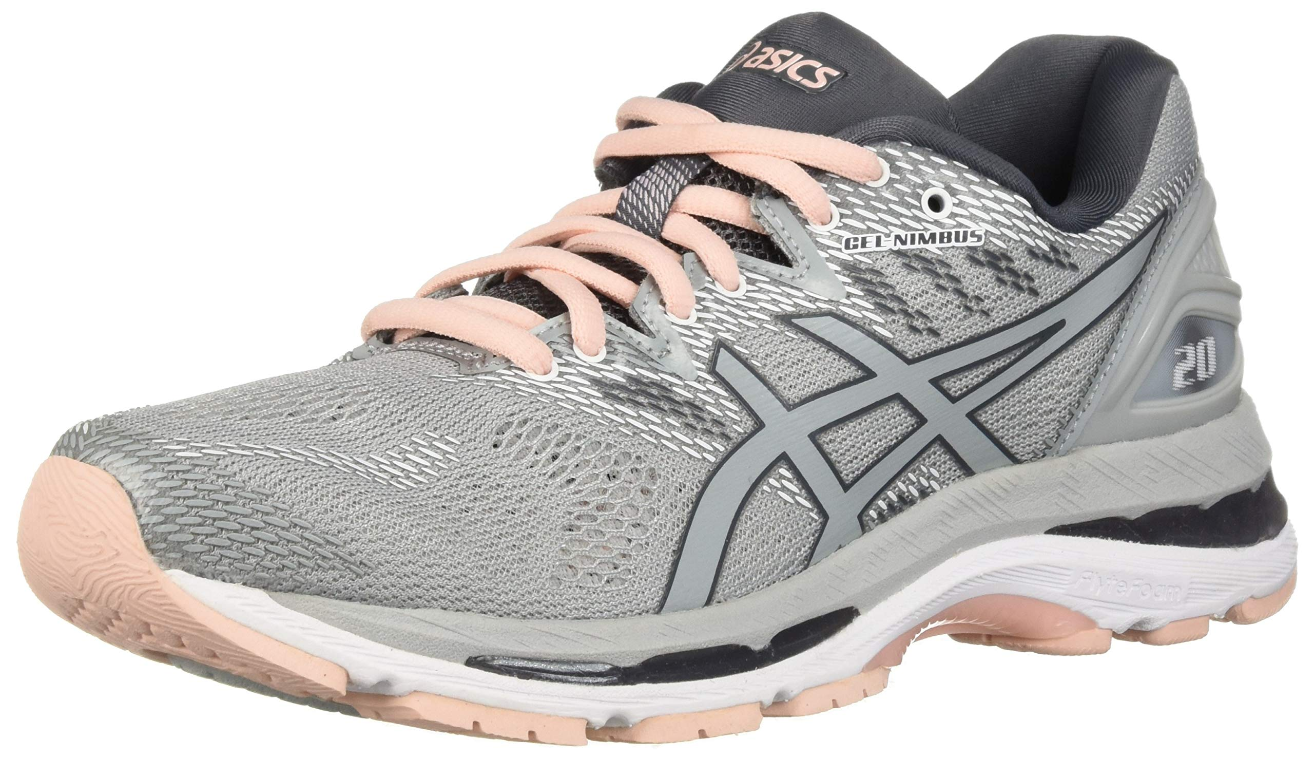 ASICS Women's Gel-Nimbus 20 Running Shoe, mid grey/mid grey/seashell pink, 5.5 Medium US by ASICS