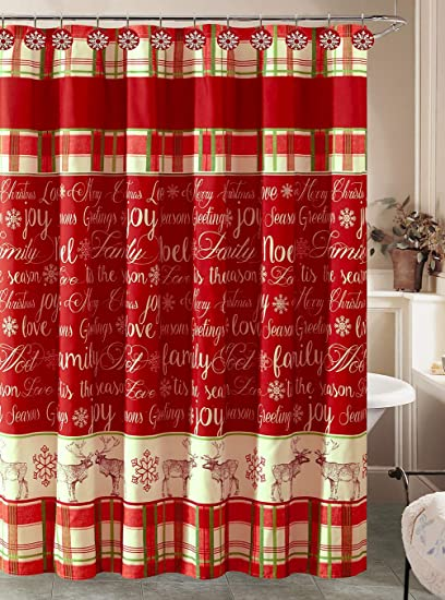 Amazon Christmas Holiday Shower Curtain And 12 Resin