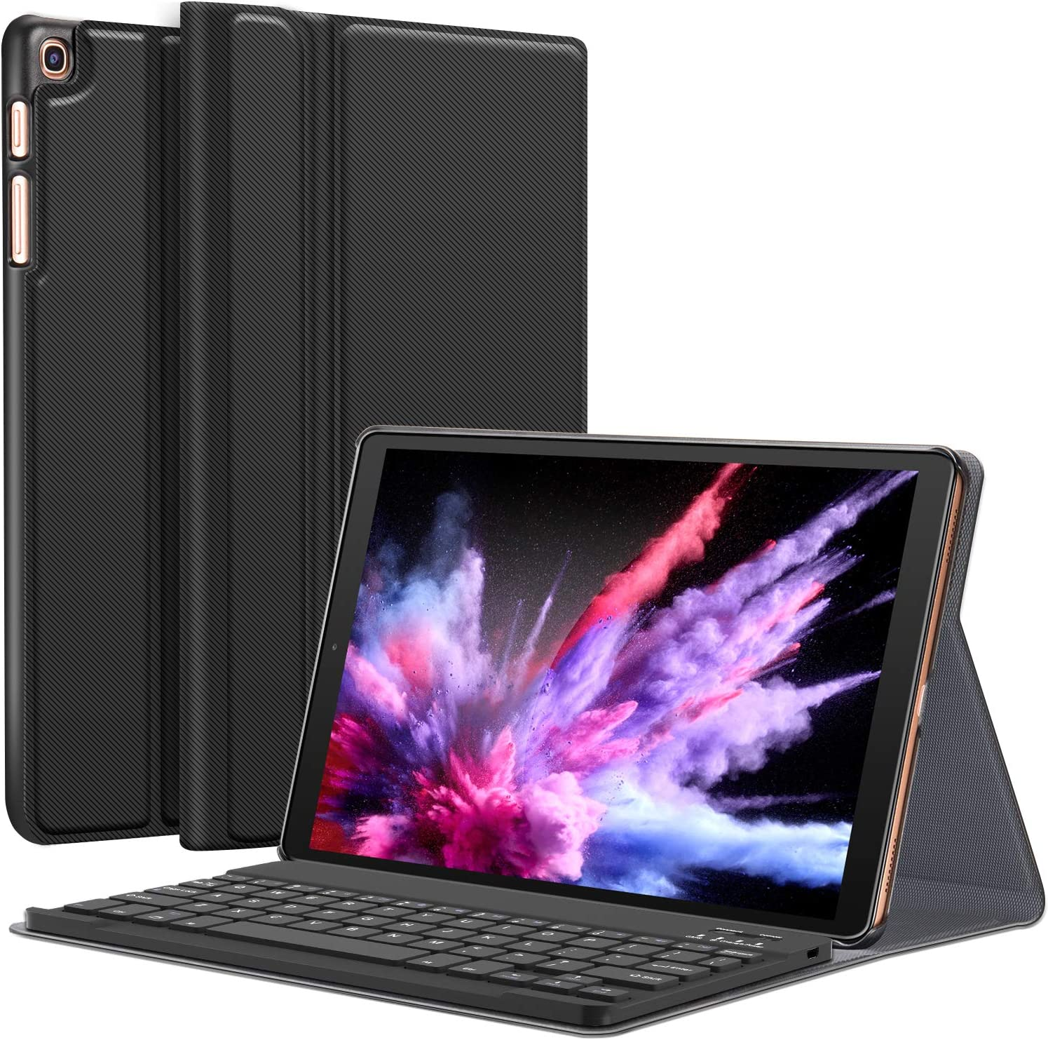 Galaxy Tab A 10.1 2019 Case with Keyboard T510 T515 - Folio PU Leather Stand Case - Magnetically Detachable Wireless Keyboard Case for Samsung Galaxy Tab A 10.1 Inch SM-T510 SM-T515 2019