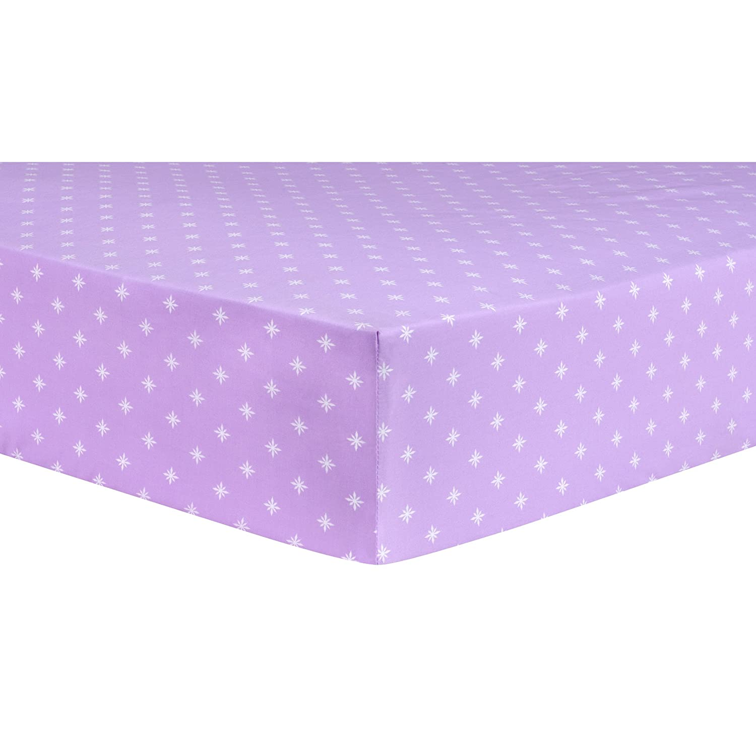 Trend Lab Stars Lavender Fitted Crib Sheet, Purple/White 103239