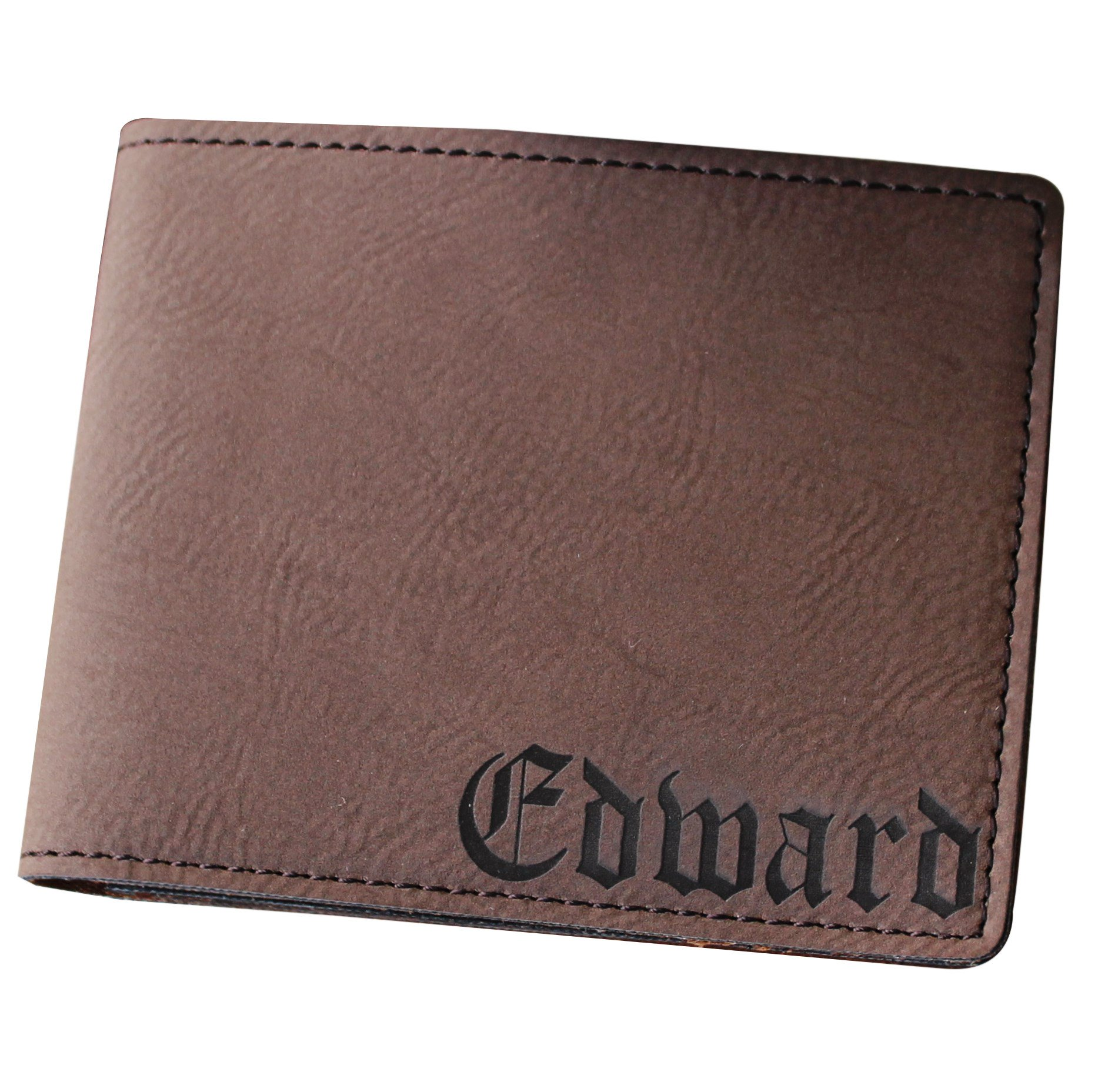 Custom Personalized Brown Bi-Fold Men's Wallet - Groomsman Fathers Day Gift - Engraved