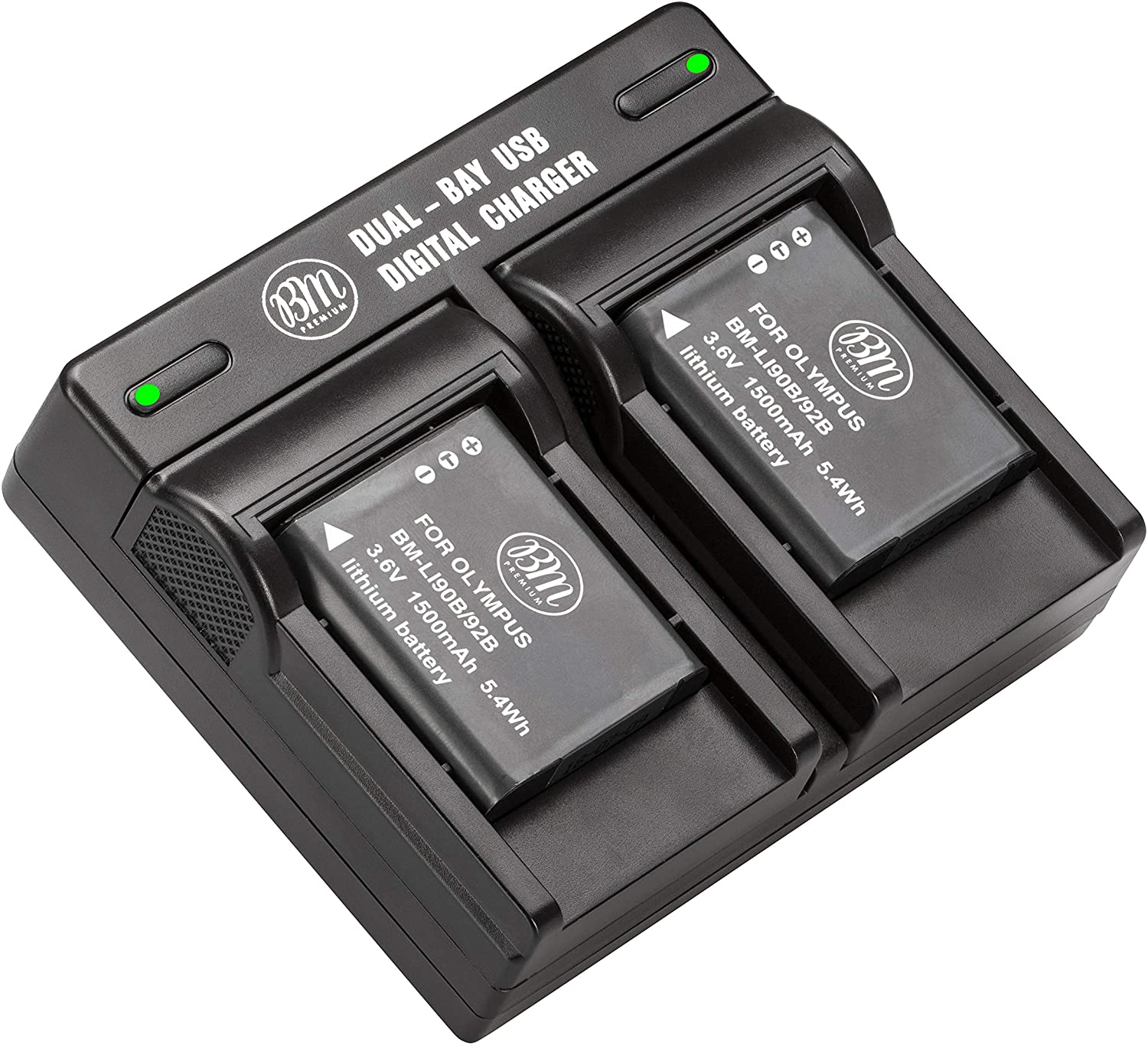 BM Premium 2 LI-90B, LI-92B Batteries and Dual Battery Charger for Olympus Tough TG-6, TG-5, TG-Tracker, Tough SH-1, SH-2, SP100 IHS, Tough TG-1 iHS, TG-2 iHS, TG-3, TG-4, SH-50, SH-60, XZ-2 iHS