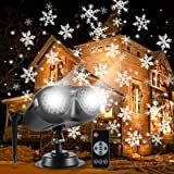 ALOVECO Christmas Snowflake Projector Lights, Rotating LED Snowfall Projection Lamp with Remote Control, Outdoor…