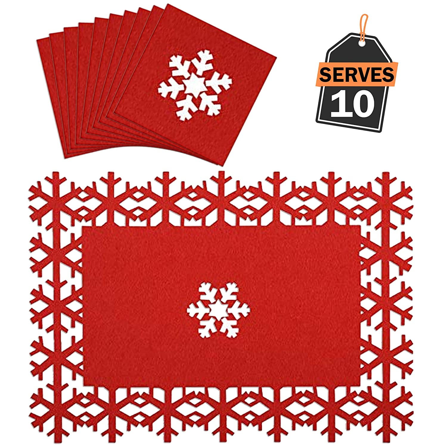 Christmas Placemats Coasters Set, Festive Table Decoration, Perfect Christmas Dinner Parties, Other Holiday Celebration Scale Rank