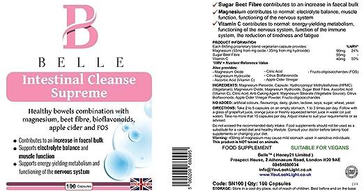 Belle® Intestinal Cleanse Suplemento Supremo - Fórmula oxi basada en magnesio - Soporta el sistema inmunológico, volumen fecal y función intestinal normal ...