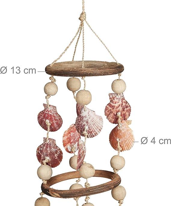 Relaxdays Carillon /à coquillages attrape-r/êves mobiles coquillages guirlande D/écoration /à suspendre bois flott/é 75 cm