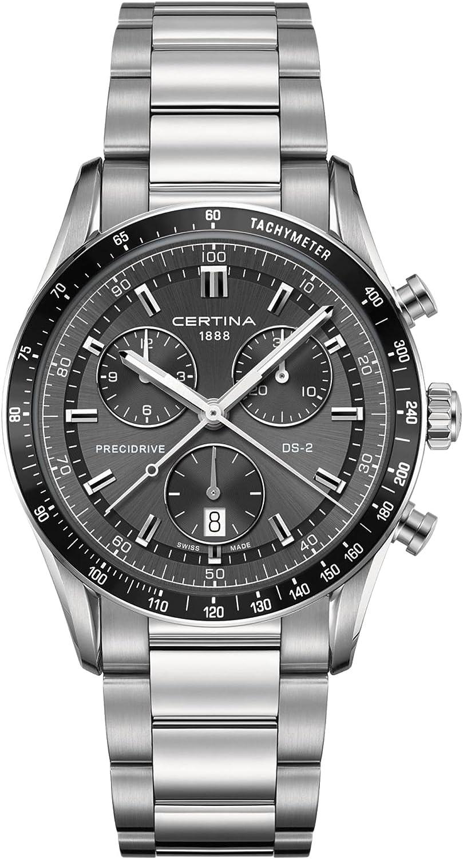 Certina C024.447.11.081.00 - Reloj para Hombres, Correa de Acero Inoxidable Color Plateado
