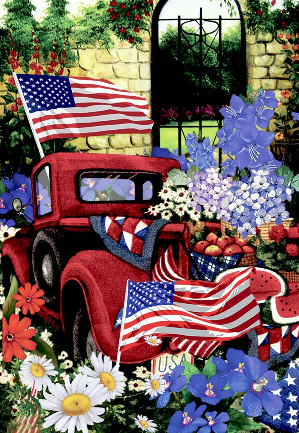 Morigins Outdoor 4th of July Flowers Garden Flag Double Sided, Old Red Truck House Yard Flag Daisy, American Holiday USA Seasonal Outdoor Flag 12.5 x 18