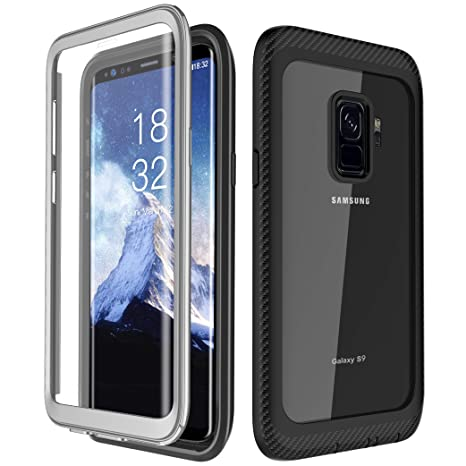Samsung Galaxy S9 Case, Singdo Full-Body Protection Rugged Clear Bumper Shockproof Anti-Scratch Case with Built-in Screen Protector for Samsung Galaxy ...