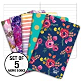 "Field Notebook - 3.5""x5.5"" - Assorted Patterns - Lined Memo Book - Pack of 5"