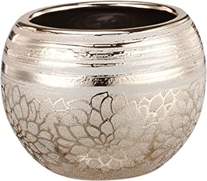 Napco Ceramic Gold Flower Ball Planter, 4""