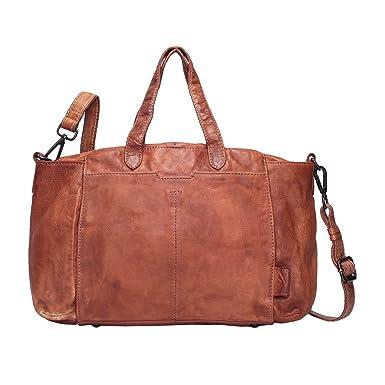 ecdef0d94854e Voi Aktentasche 21102 Leder Damen Businesstasche Schultertasche elegante  Handtasche aus Soft Leder in Zimt Braun