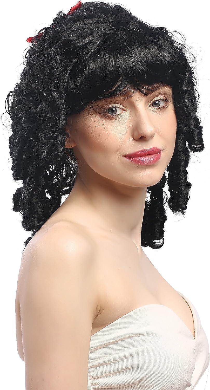63024-P103 Parrucca Donna Carnevale Biedermeier Romantica Barocco Ricci a Spirale Nero Occhiello Fiocchi Lolita Gotica WIG ME UP /®