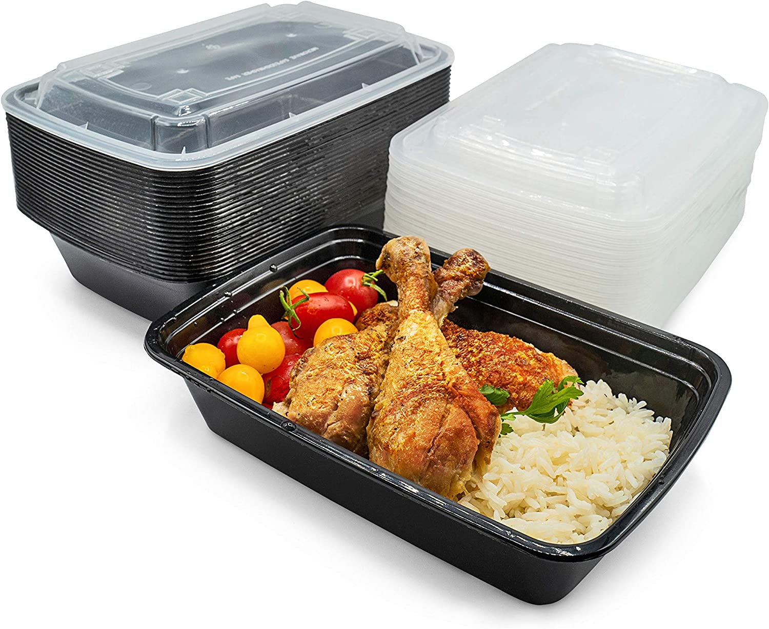[50 Pack - 28 oz - 1 Compartment] Meal Prep Containers With Snap Tight Lids - Non-Spill Food Storage Reusable Stackable Freezer Microwavable & Dishwasher Safe Lunch Boxes - BPA-Free Heavy Duty Plastic