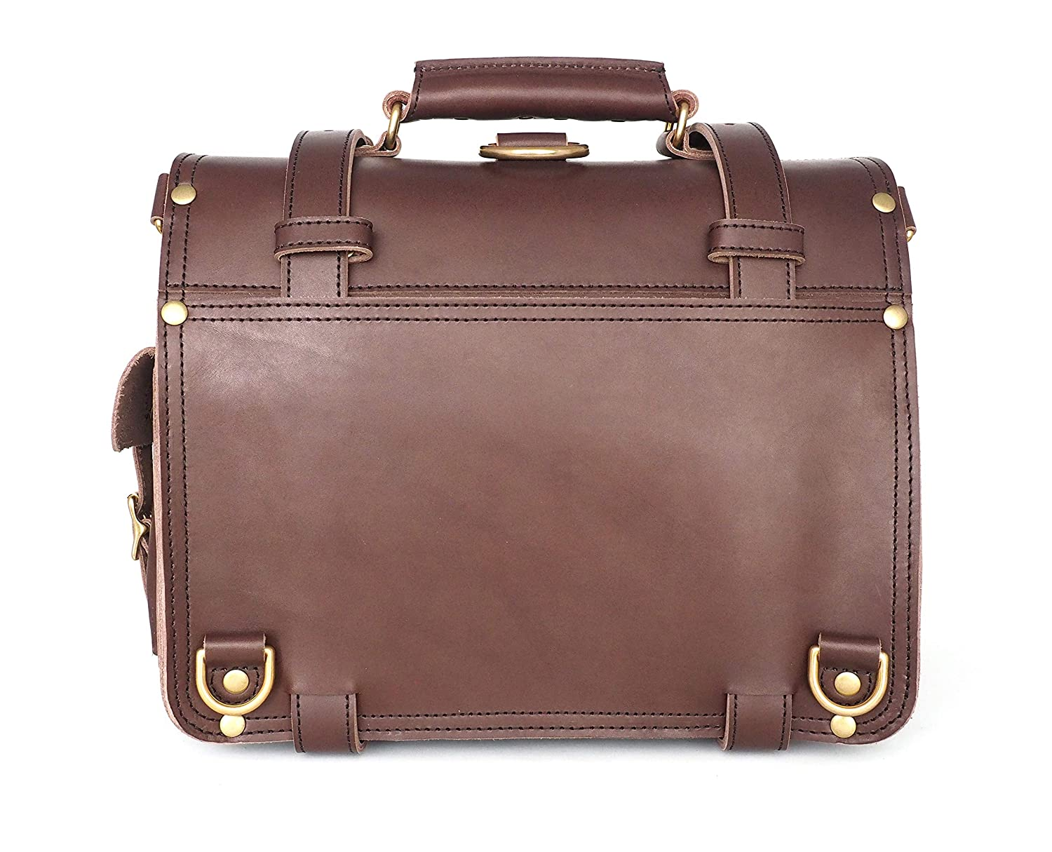 Solid Brass Hardware 14 TB01-B Full Grain Leather Solid Brass Hardware Marlondo Leather Double Space Briefcase 14, Black