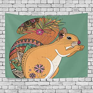 MRMIAN Ethnic Squirrel Animals Print Japanese Style Flower Orange Green,Wall Hanging Tapestry For Living Room Bedroom Dorm Decor