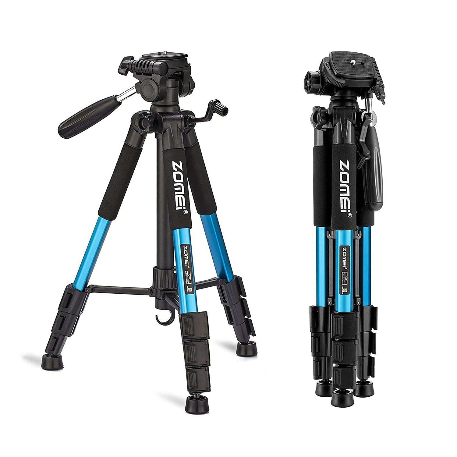 ZOMEi Compact Travel Tripod 55inch Portable Stand - Easily Adjustable Legs - 3-Way Panhead Digital SLR Camera Canon EOS Nikon Sony Samsung - Blue
