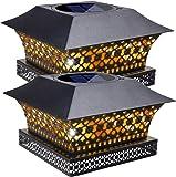 Siedinlar Solar Post Lights Outdoor Fence Deck Cap Light Solar Powered Metal Warm White LED Lighting Waterproof for…