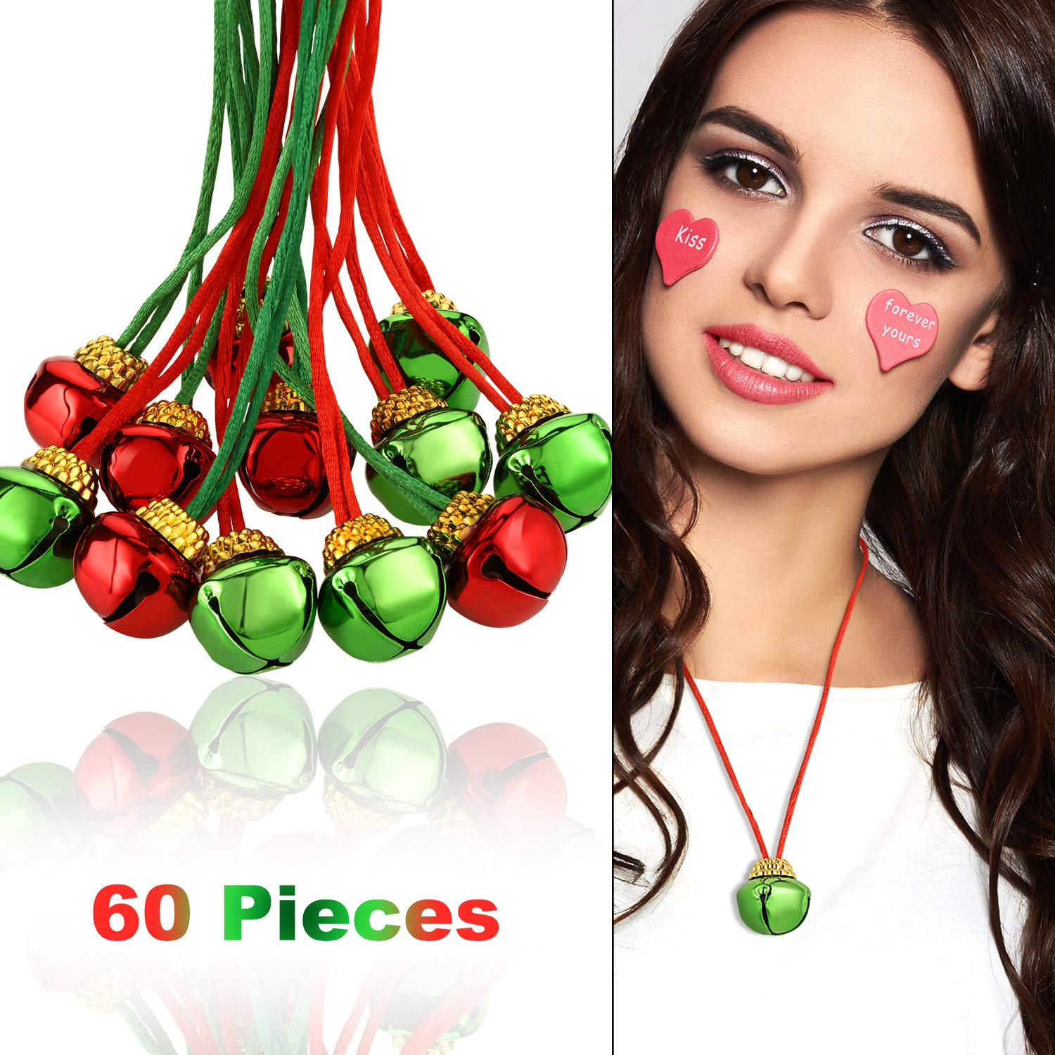 60 Pieces Christmas Bell Necklaces Christmas Holiday Necklaces for Christmas Supplies, Red and Green Colors by Gejoy