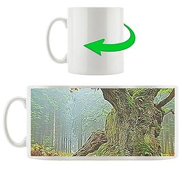 La Arbre En SurexposéeMotif Dans Tasse Blanc Épais Forêt De Mousse eDIYWEH29