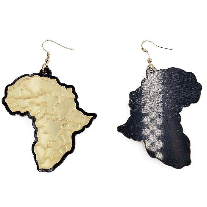 RXBC2011 Africa Map Drop Earrings Acrylic d2r7W