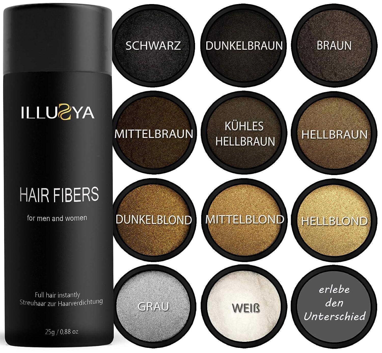 ILLUSYA® Hair Fiber - Caída del cabello - Fibras capilares para el engrosamiento del cabello. marca de primera calidad. Cabello completo en segundos. ...