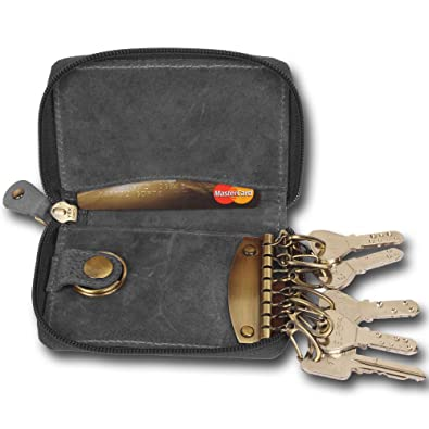 Leather Key Case - Compact Key Holder Wallet Pouch - Gifts Him Her Men Women  ( 3435f8df9c