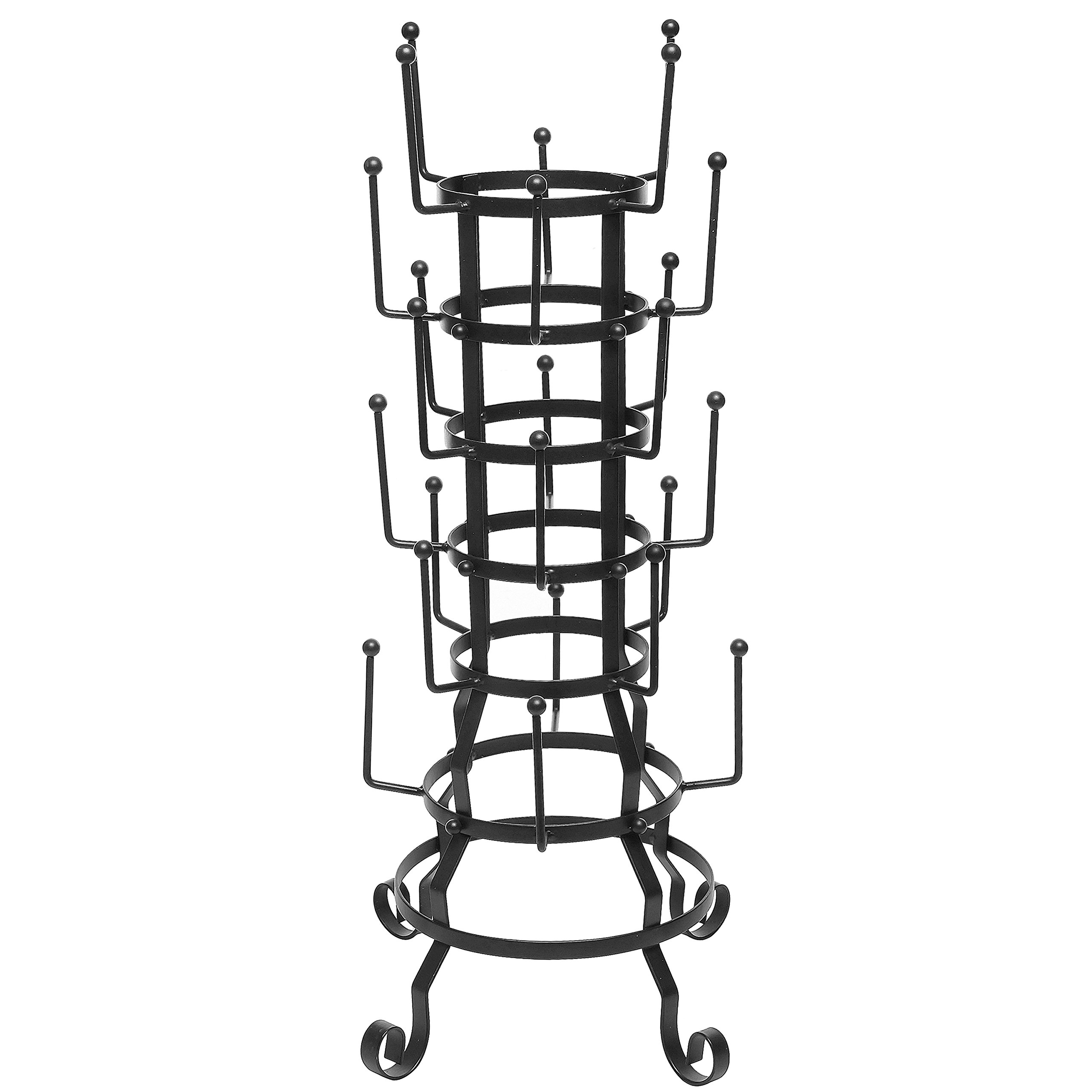 MyGift Vintage Rustic Black Iron Mug/Glass/Cup/Bottle Hanger Hooks Drying Rack Organizer Stand
