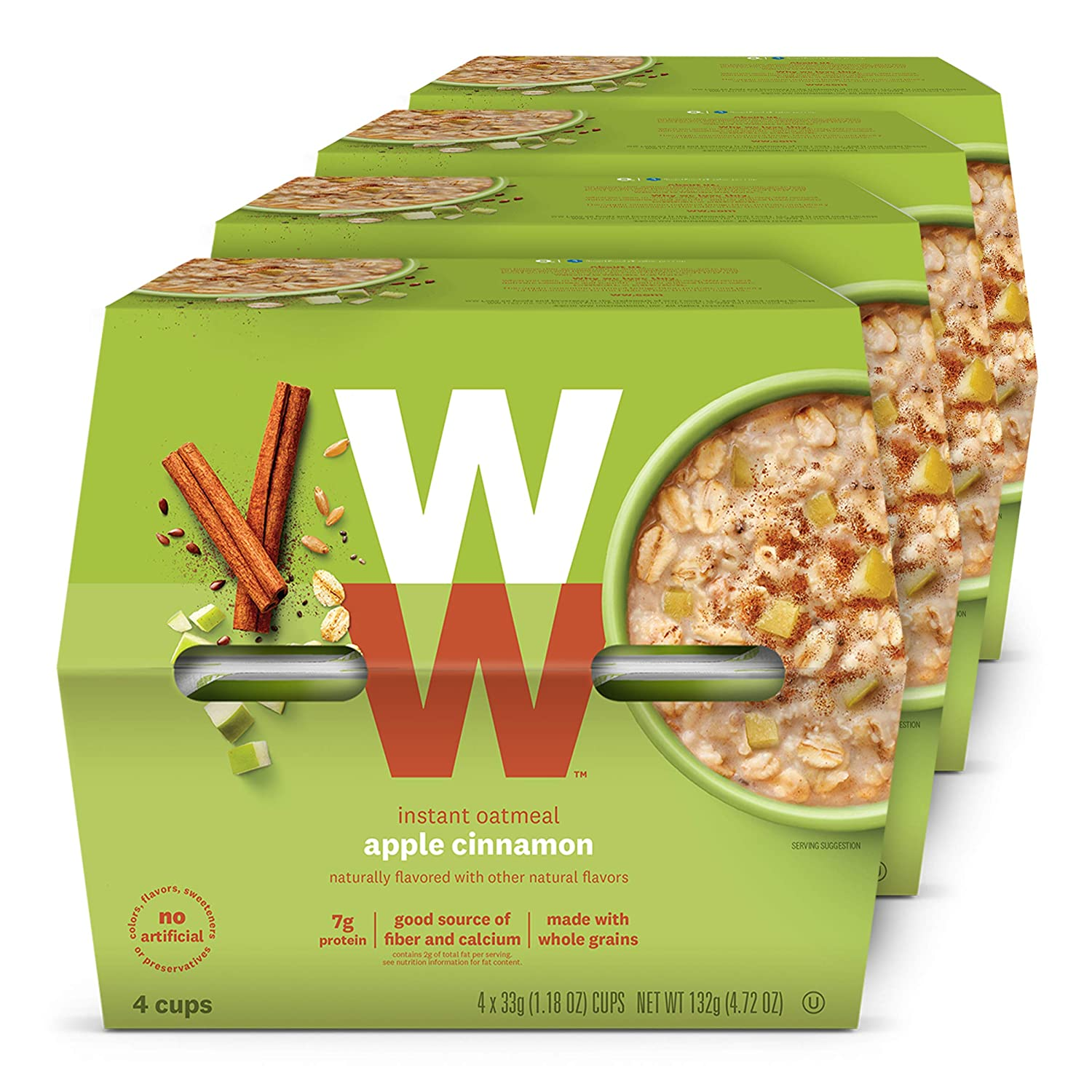 WW Apple Cinnamon Instant Oatmeal - 3 SmartPoints - 4 Boxes (16 Count Total) - Weight Watchers Reimagined