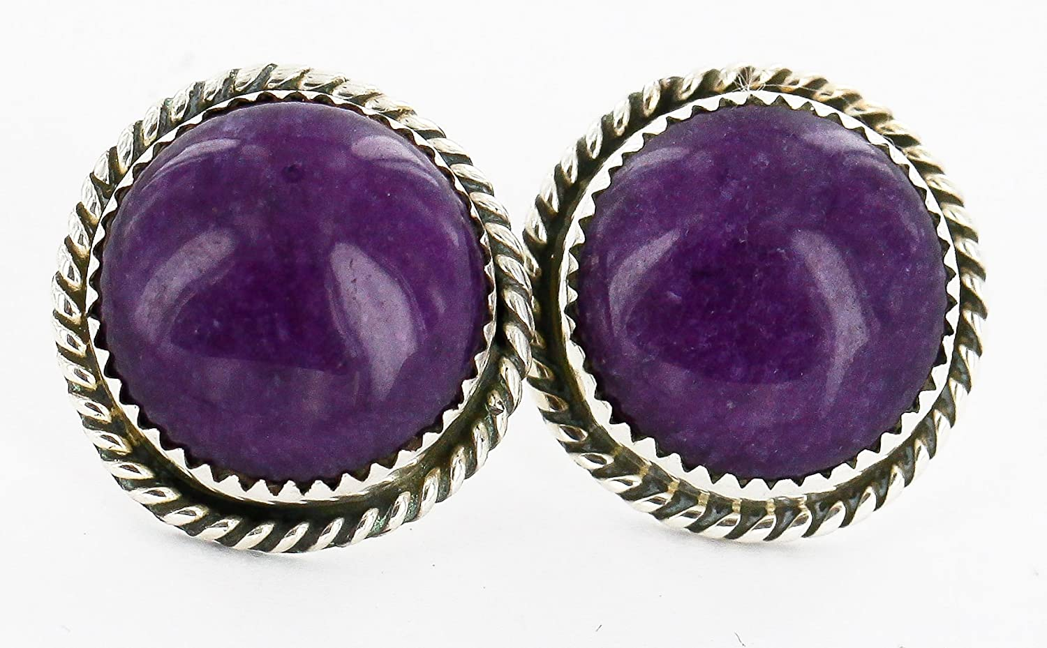 $100 Retail Tag Authentic Handmade Made by Robert Little Navajo Silver Natural Sugilite Stud Native American Earrings