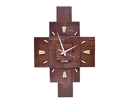7c63e4f7160a Buy Just Frames Vintage Style Natural Wooden Wall Clock Online at Low  Prices in India - Amazon.in