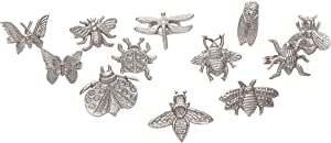 Botanical Assorted Napkin Rings Set of 12, Insect Family Napkin Holders, Napkin Rings Bulk for Party Decoration, Dinning Table, Everyday, Family Gatherings - A great Tabletop Décor - Silver