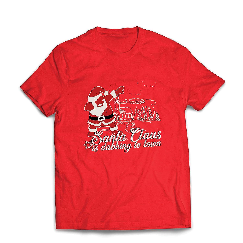 lepni.me Mens T-Shirt Santa Claus is Dabbing to Town Christmas Floss