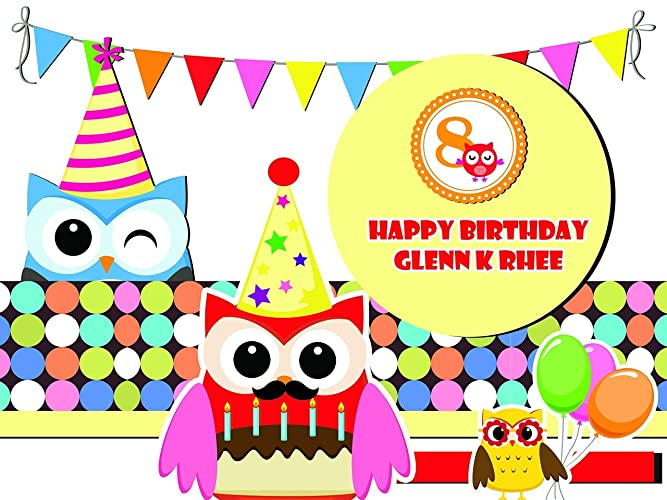 Amazon.com: Custom Home Decor Cartoon Owls Birthday Poster for Kids ...