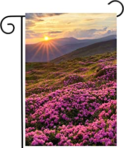 ShineSnow Fields of Spring Floral Flowers in The Mountains with Sunlight Sunrise Garden Yard Flag 12
