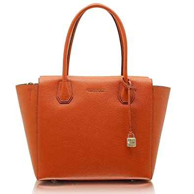 c61c66865 Amazon.com: Michael Kors Studio Mercer Large Leather Satchel (Orange): Shoes