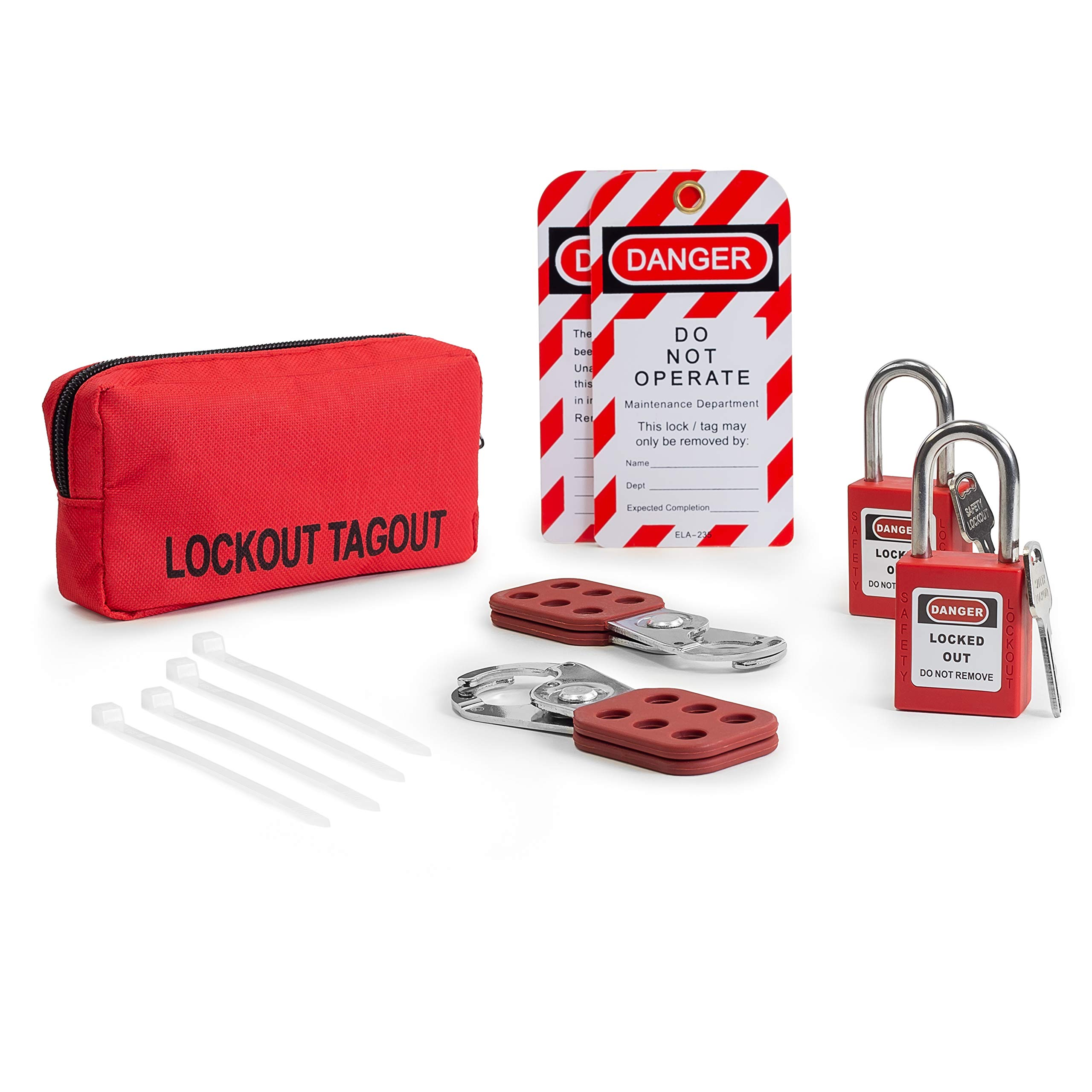Lockout TAGOUT KIT w/ 2 Hasps, 2 Lockout Tags, 3 Cable Ties, 2 Red Lockout Safety Padlocks, and Carrying Case | OSHA Compliance for Electrical Lock Out tag Out by TRADESAFE