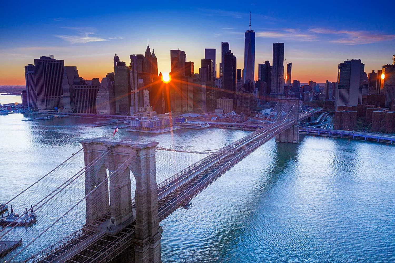 MELIS New York City Skyline & Brooklyn Bridge at Sunset. High Definition Aerial Photo of New York. Canvas Wall Art Home Decor. 16x24