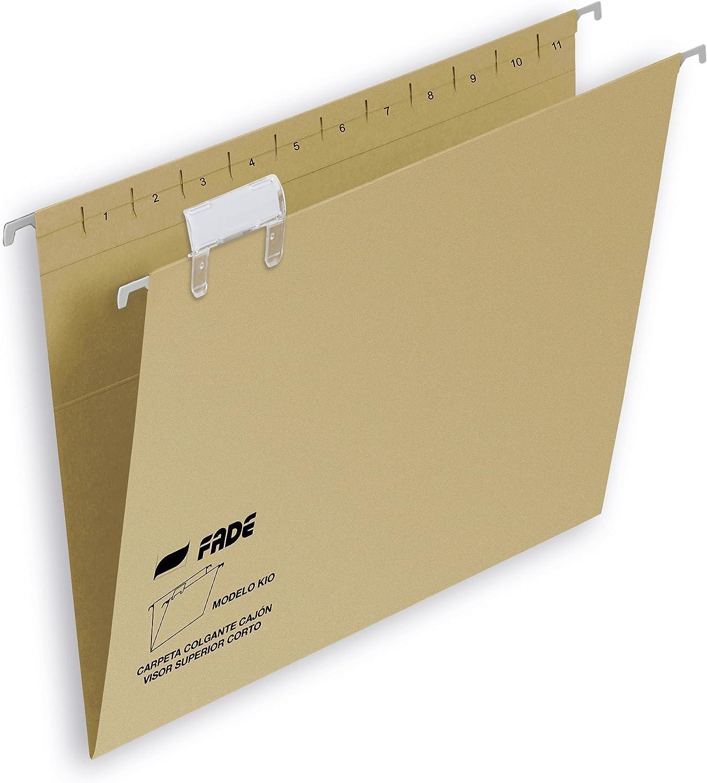 Elba Fade Kio - Caja de 50 carpetas colgantes para cajón, A4