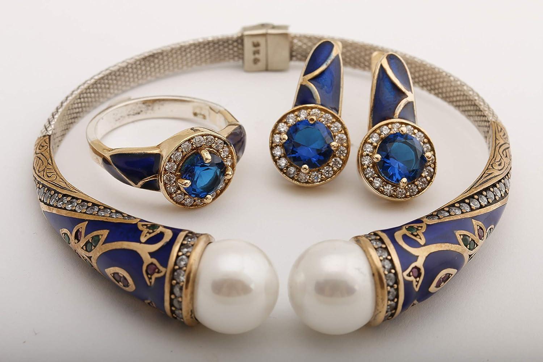 925 Sterling Silver Handmade Authentic Turkish Emerald Ladies Bracelet Cuff