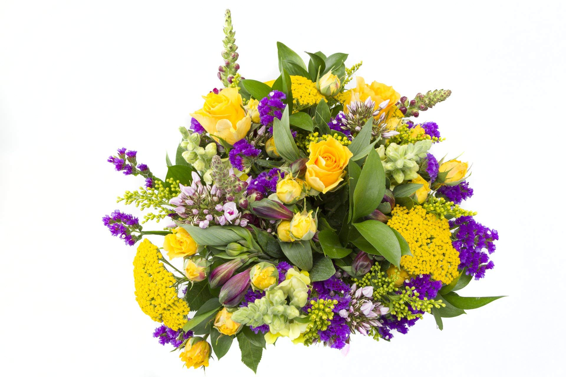 Chichi Party Purple and Yellow Flowers with Roses, Snapdragons, and More Sustainably Grown and Harvested, No Vase Included